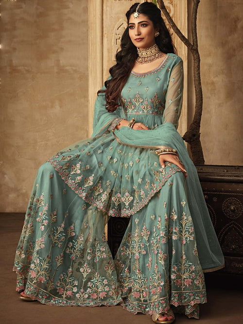 Light Blue Multi Designer Anarkali Gharara Suit