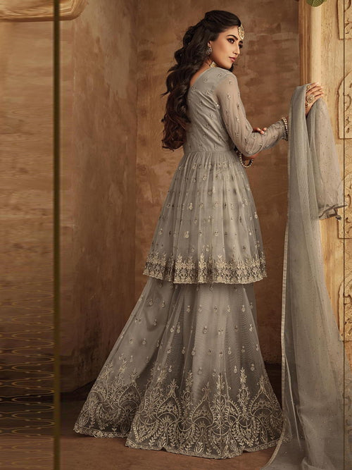 Grey Golden Designer Anarkali Gharara Suit