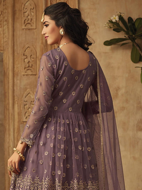 Purple Golden Designer Anarkali Gharara Suit