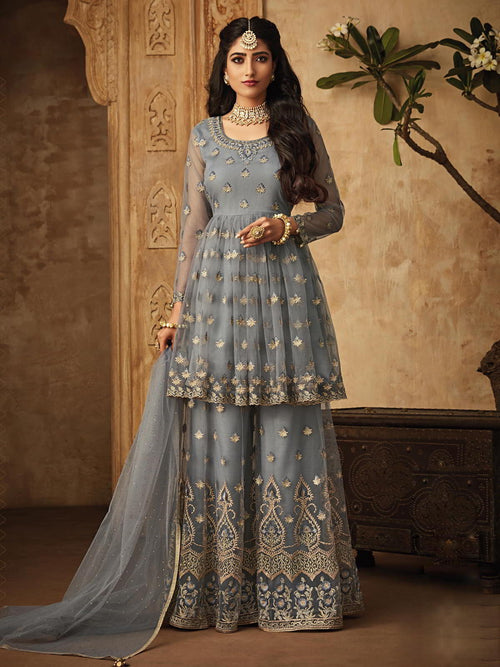 Teal Blue Golden Designer Anarkali Gharara Suit