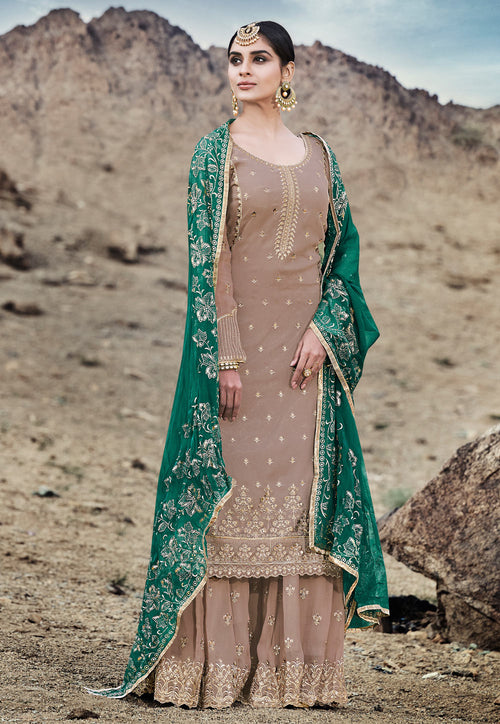 Embroidered Palazzo Suit