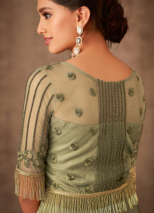Olive Green Embroidered Party Wear Anarkali Gown