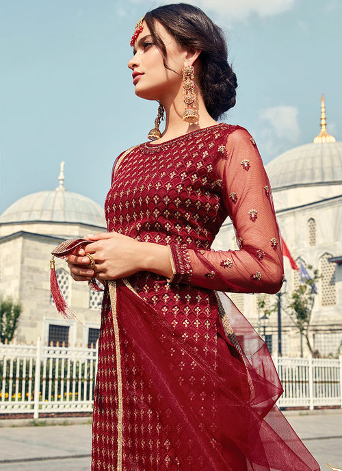 Red Golden Embroidered Designer Gharara Suit, Salwar Kameez