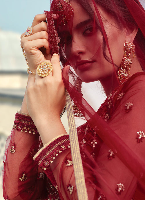 Red Golden Embroidered Designer Gharara Suit