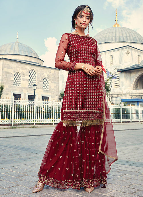 Red Golden Designer Gharara Suit
