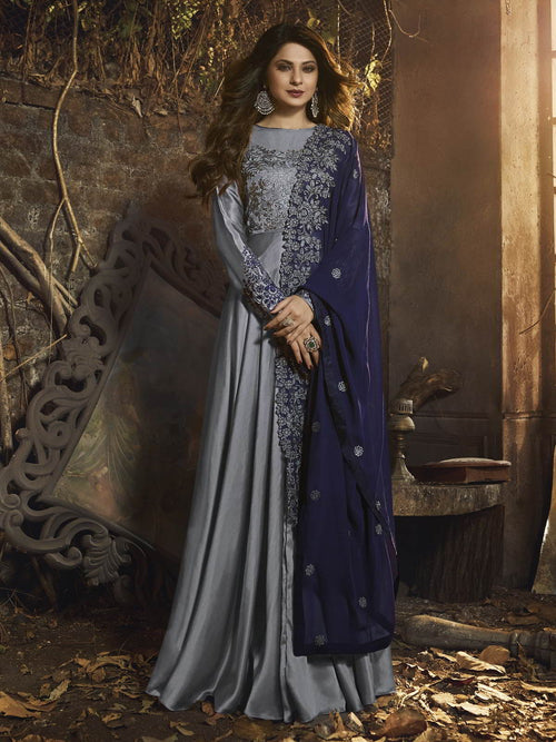 Silver And Blue Embroidered Anarkali Gown