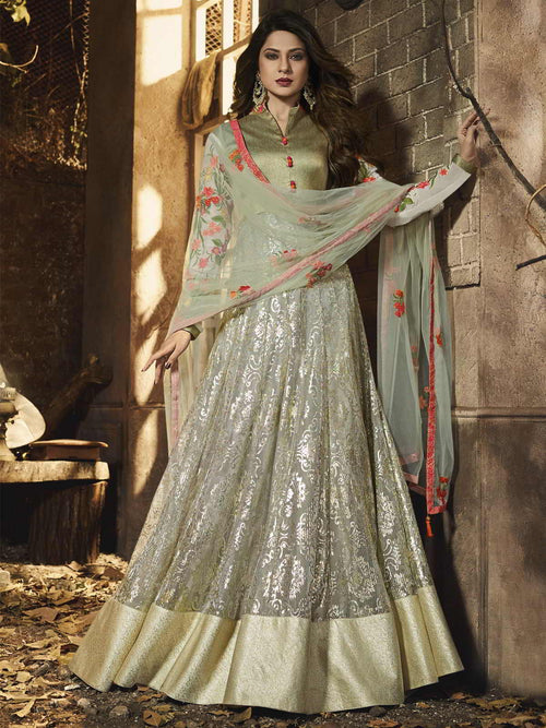 Light Green Traditional Anarkali Gown