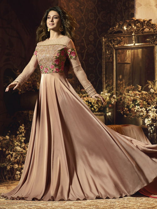 Rustic Brown Floral Satin Anarkali Gown