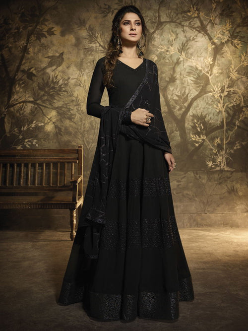 Black Golden Detail Anarkali Gown