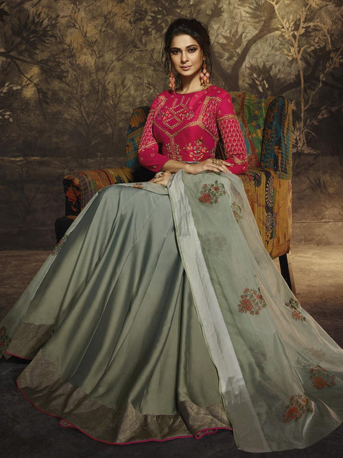 Teal And Pink Party Wear Anarkali Suit