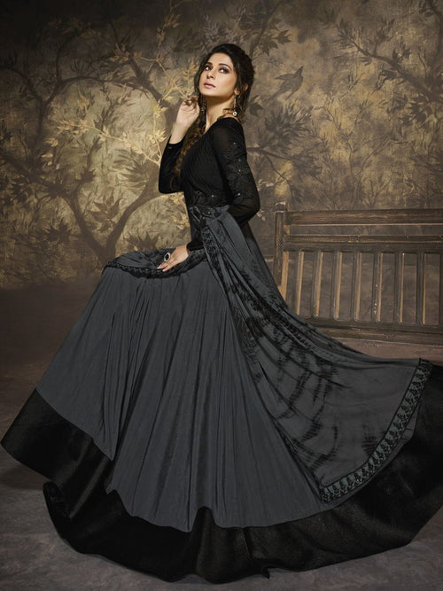 Grey And Black Party Wear Anarkali Suit