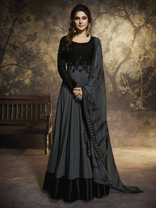 Grey And Black Minimalist Embroidered Party Wear Anarkali Suit