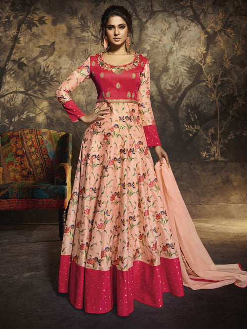 Peach And Pink Party Wear Anarkali Suit