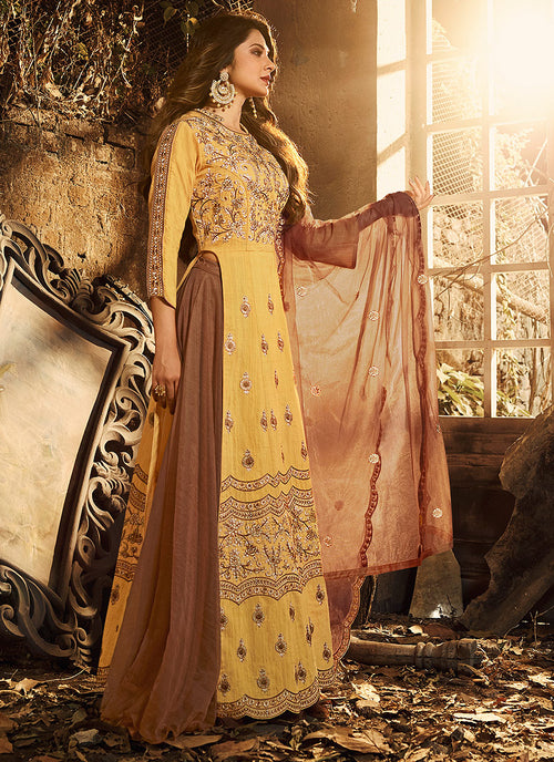 Yellow And Brown Silk Anarkali Lehenga Suit