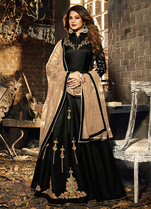 Black And Golden Ethnic Embroidered Anarkali Suit