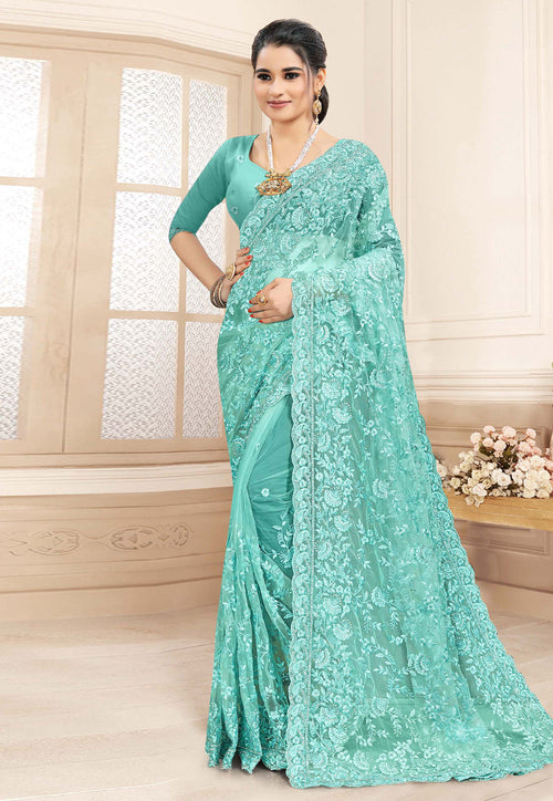 Aqua Blue Embroidered Party Wear Saree