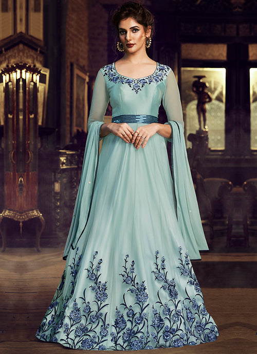 Indian Clothes - Sky Blue Minimalist Embroidered Designer Gown