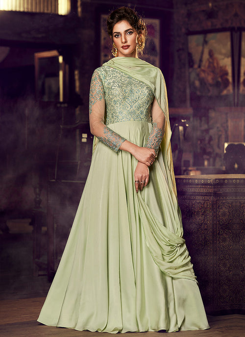 Indian Clothes - Light Green Minimalist Embroidered Designer Gown