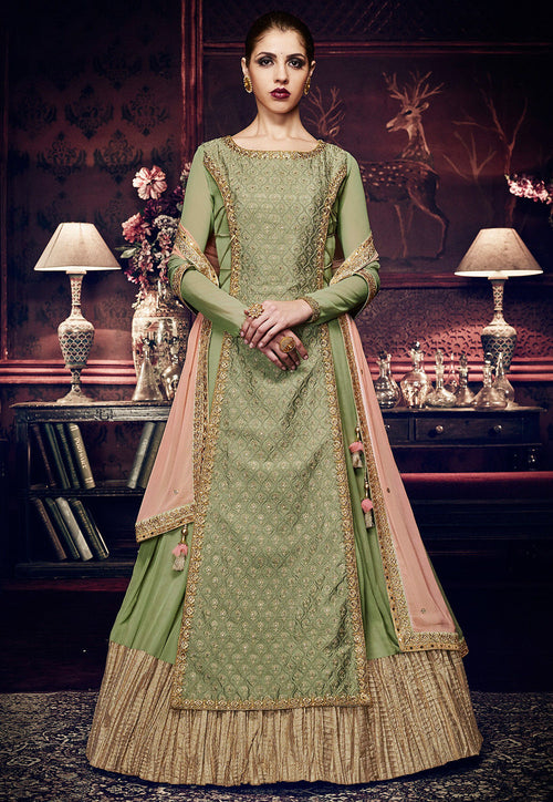 Light Green And Pink Embroidered Georgette Anarkali Suit