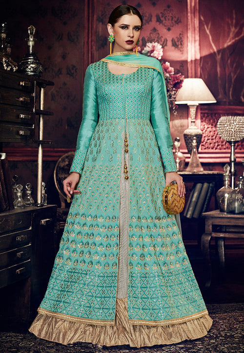 Light Blue And Off White Embroidered Silk Anarkali Suit