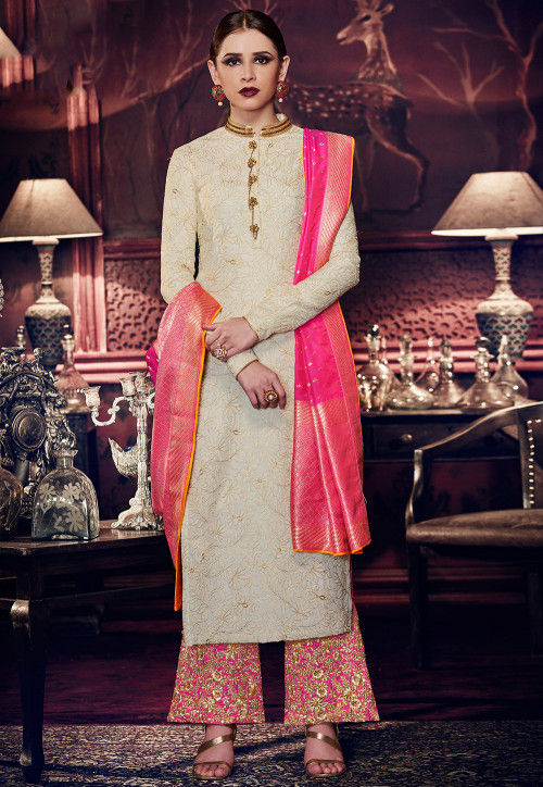 Pink And Off White Embroidered Silk Palazzo Suit