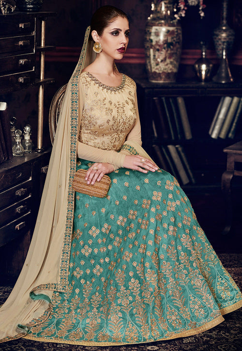 Light Blue And Beige Embroidered Silk Anarkali Suit