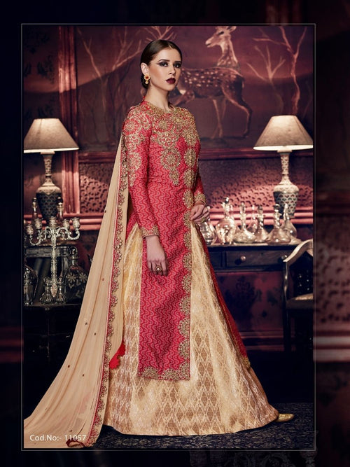 Light Pink And Beige Embroidered Lehenga