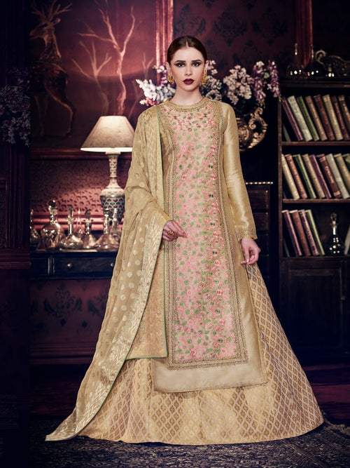 Pink And Cream Embroidered Silk Lehenga