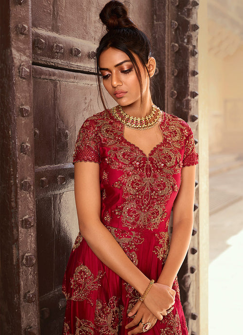 Bridal Red Anarkali Gown In usa