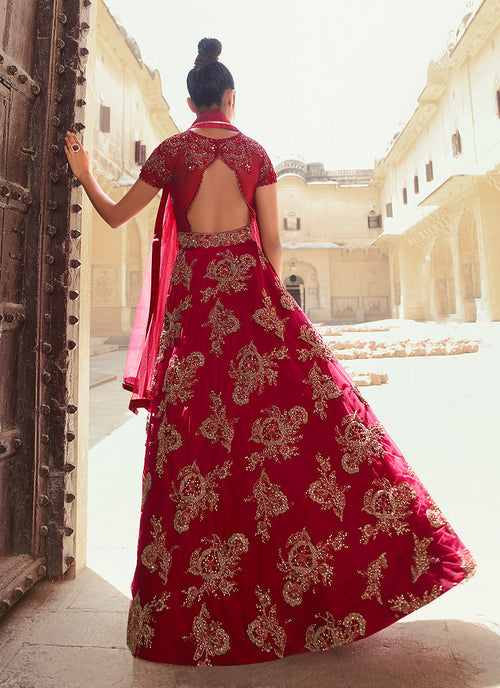 Bridal Red Anarkali Gown In usa uk canada
