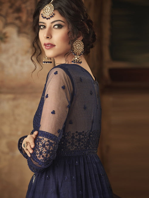 Navy Blue Party Wear Palazzo Suit Online