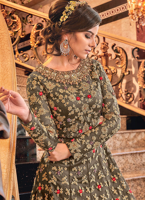 Indian Dresses - Olive Green Embroidered Anarkali Suit,Salwar Kameez