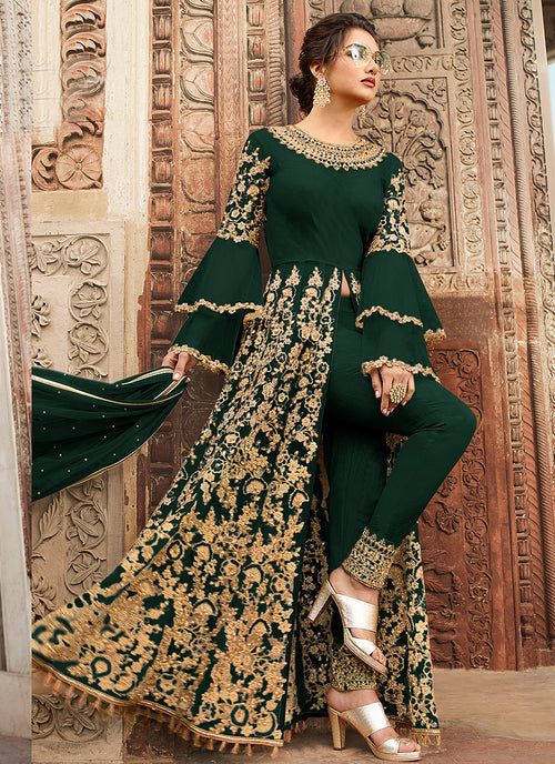 Green Overall Embellished Lehenga/Pant Suit