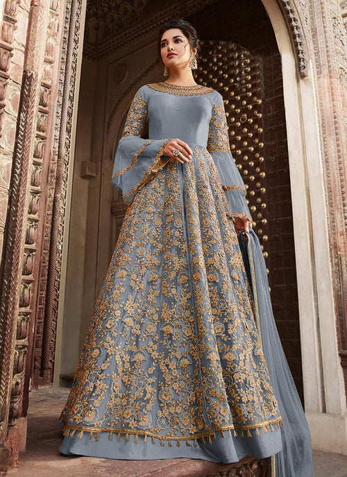 Blue Overall Embellished Lehenga/Pant Suit