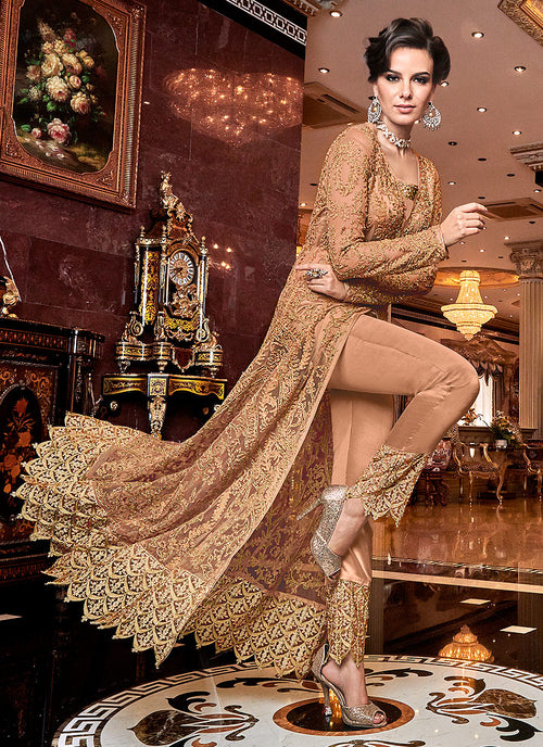 Indian Dresses - Orange Lehenga/Pants Suit,Salwar Kameez