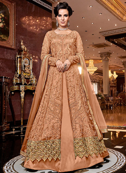 Indian Clothes - Orange Designer Lehenga/Pants Suit