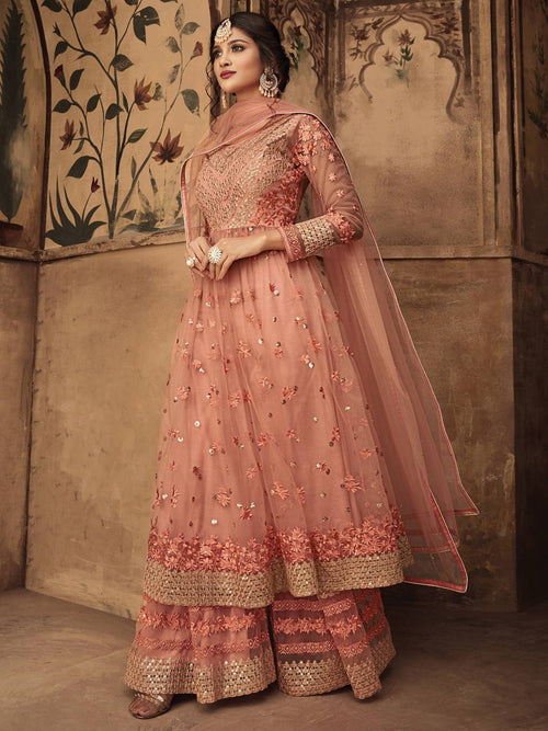 Peach Party Wear Sharara Suit Online