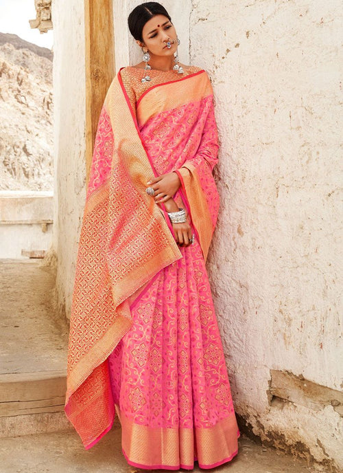 Pink Digital Printed Indian Patola Silk Saree