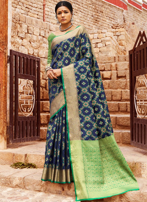 Blue And Green Digital Indian Patola Silk Saree