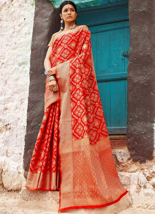 Red Golden Digital Indian Patola Silk Saree