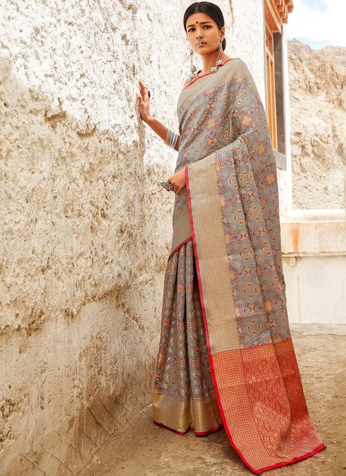 Grey And Orange Digital Indian Patola Silk Saree