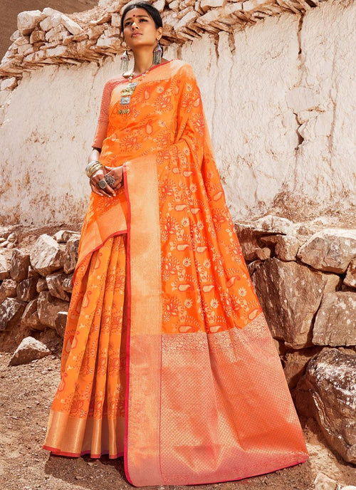 Orange Golden Digital Indian Patola Silk Saree