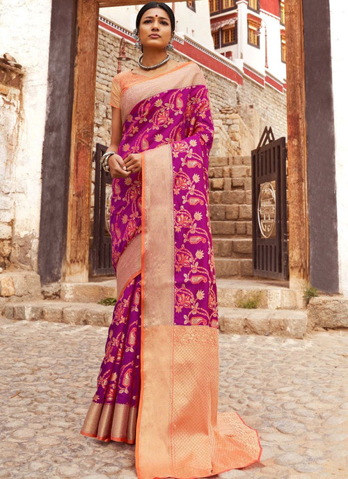 Purple Orange Digital Indian Patola Silk Saree