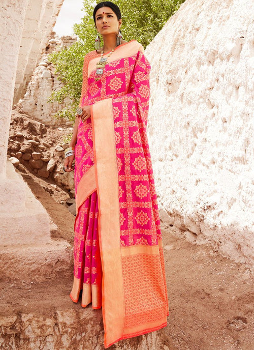 Pink And Orange Digital Indian Patola Silk Saree