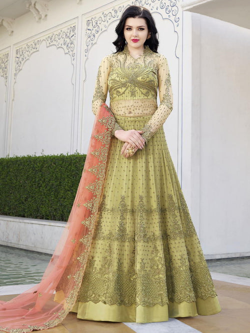 Green And Peach Anarkali Lehenga And Pant Suit