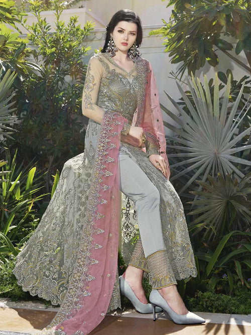 Grey And Pink Anarkali Lehenga And Pant Suit