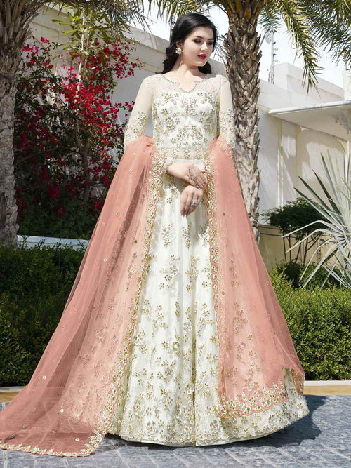 White And Pink Anarkali Lehenga And Pant Suit