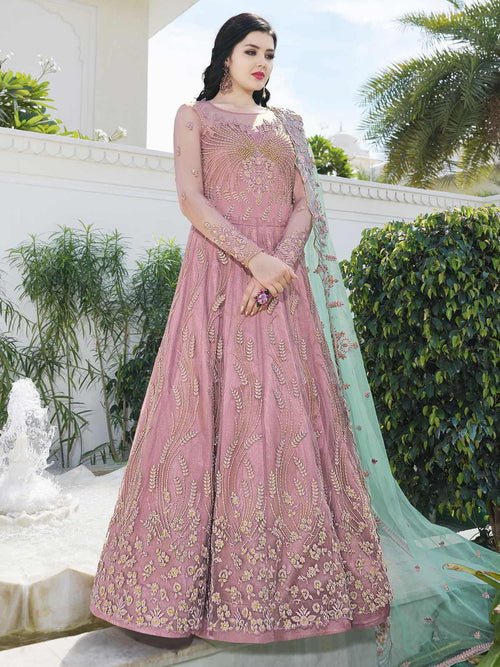 Pink And Turquoise Anarkali Lehenga And Pant