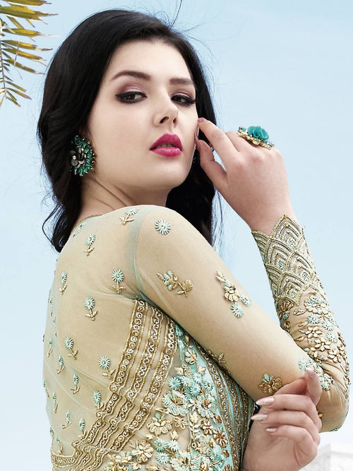 Turquoise And Green Anarkali Lehenga And Pant Suit