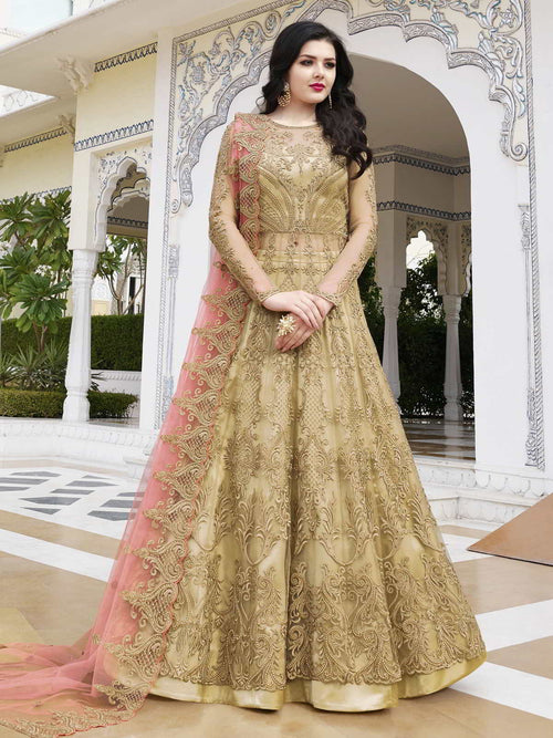 Golden And Peach Anarkali Lehenga And Pant Suit